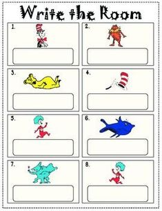 2 FREE Write the Room activities. (1) Search the Room finding 1st grade sight words. (2) Write the Room (Cat in the Hat).