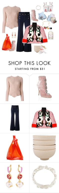 """""""Baaaabyyyy, I got rice!"""" by juliabachmann ❤ liked on Polyvore featuring RED Valentino, Manolo Blahnik, Gucci, Jil Sander, Denby, Bea Bongiasca and Fresh"""