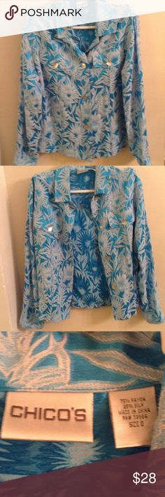 Chico blazer Button down blazer blue and white floral white shirt no included Chico's Jackets & Coats Blazers