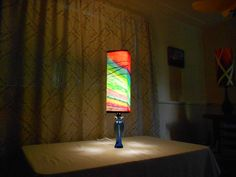 """This is a handmade art lamp with original artwork. It is called """" The River"""". Universe Art, Home Lighting, Handmade Art, Lava Lamp, Custom Homes, Original Artwork, Lamps, Table Lamp, River"""