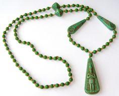 Vintage ART Deco Neiger Egyptian Revival Green Figural Bead Pendant Necklace | eBay