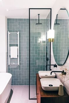 Small Bathroom Ideas Which Are Functional. Most Popular Small Bathroom Remodel Ideas. If you hear small bathroom ideas words, you might think about the difficult plan or design to carry on. Meanwhile, designing the small bathroom is simple Wood Bathroom, Bathroom Flooring, Bathroom Interior, White Bathroom, Bathroom Cabinets, Design Bathroom, White Shower, Bathroom Small, Bathroom Modern