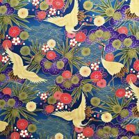 Japanese cotton fabric printed with cranes on a floral background in deep red tones. Birds are approx long. Japanese Crane, Japanese Cotton, Asian Fabric, Decoupage Paper, Yellow Print, Geisha, Autumn Leaves, Printing On Fabric, Bedroom Ideas
