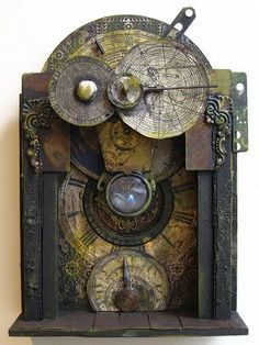 Steampunk time machine assemblage, by Urbandon I like this as it appears to be card or papier mache The old clockwork I like. Steampunk Kunst, Steampunk Design, Steampunk Fashion, Steampunk Clock, Steampunk Artwork, Steampunk Watch, Cyberpunk, Shaun Tan, Vanitas