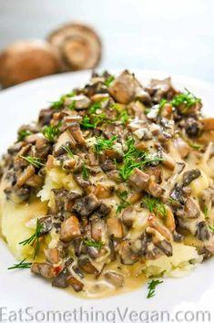 Vegan Mushroom Sauce - Eat Something Vegan Vegan Dinner Recipes, Vegetable Recipes, Whole Food Recipes, Vegetarian Recipes, Cooking Recipes, Healthy Recipes, Vegan Meals, Vegan Food, Sauce Recipes