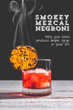 Uses for smoked simple syrup, Negroni, Smoked Cocktail, Traeger Grill, Mezcal cocktail Mezcal Cocktails, Smoked Cocktails, Cocktail Drinks, Cocktail Recipes, Alcoholic Drinks, Mezcal Margarita, Liquor Drinks, Cocktail Parties, Beverages