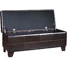 @Overstock - Add extra storage space to your home with this stylish synthetic leather storage bench. With its large storage capacity and attractive design, it is both chic and functional. Featuring a rich luster, this bench is a stylish addition to any home.http://www.overstock.com/Home-Garden/Chocolate-Synthetic-Leather-Storage-Bench/4458318/product.html?CID=214117 $165.99