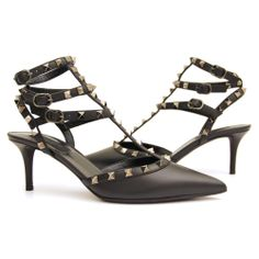 Women's All Black Valentino Rock Stud Mid Heels