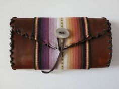 The Serape Leather Wallet in pink by daughterofthesun on etsy