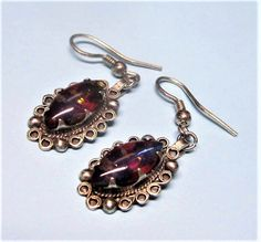 Mexican Silver Foiled Opal Glass Earrings Vintage 1980s Hechoen Dangle Earrings Pierced Hooks by letsreminisce on Etsy