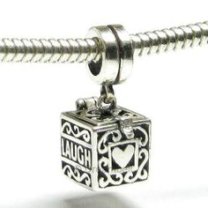 Sterling Silver Heart Love Laugh Live Prayer MEMORY Locket European Bead Charm