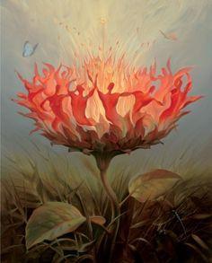 Morning Blossom, Vladimir Kush    앞의 마티스의 작품보다는 불안함이 덜 느껴지는 그림이다. 꽃잎을 불타는 사람들로 형상화 하여 마치 불꽃놀이를 하고 있는 듯 하다. 정확히 알 수는 없지만 춤 너머의 이상을 담고 있는 것 같다. 발화의 순간, 꽃이 만개하는 순간의 환희과 열정을 느낄 수 있다.