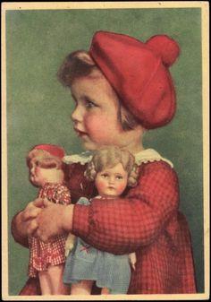 German Postcard, Madchen mit ihren zwel Puppen, Baskenmutze.