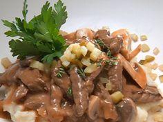Big Top Beef Stroganoff recipe from Robert Irvine via Food Network