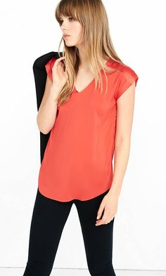 Silky V-neck Roll Sleeve Blouse from EXPRESS