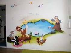 in her old room....Disney bambi mural, so cute