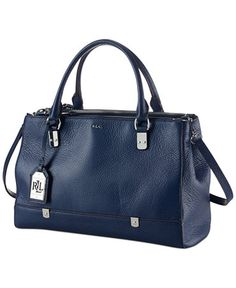 Lauren by Ralph Lauren Morrison Triple Zip Satchel in Marine (navy blue) - I like the triple zip better than the double zips which are a weird textured leather