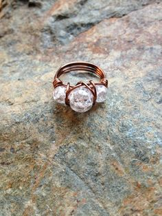 Three Stone Cracked Marble Wire Wrapped Ring by CopperRoadJewelry, $15.00