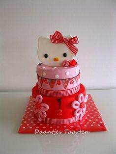 Red Checkered Ribbon Hello Kitty Cake- I loove this idea! I think this is my fav like, extravagant Hello Kitty cake that I've seen! Torta Hello Kitty, Hello Kitty Birthday Cake, Sanrio Hello Kitty, Birthday Cakes Delivered, Special Birthday Cakes, Birthday Cake Girls, 2nd Birthday, Birthday Ideas, Beautiful Cake Pictures