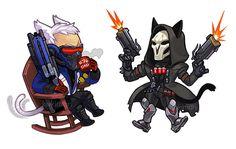 Overwatch - Soldier 76 & Reaper / http://kakimari.tumblr.com/