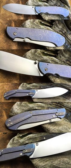 Framelock. Elmax blade, blue titanium, stonewash