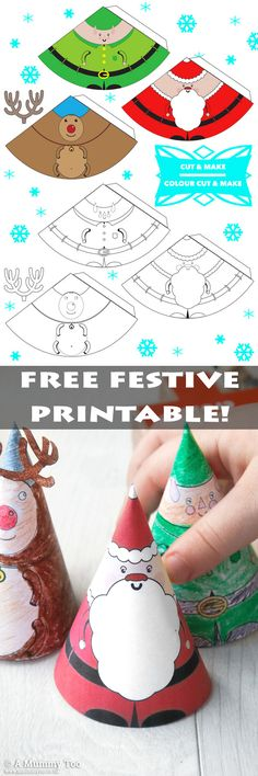 This cute festive printable is FREE to download and comes with three pre-coloured and three ready-to-colour Christmas Characters. They're just the right size for little hands...