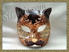 Cat Brown/Gold Music - Handmade Venetian Masks from Venice, Italy - 1001 Venetian Masks