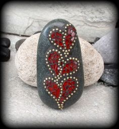 mosaic outdoor adhesive cure | RESERVED 3 Valentine Hearts - Mosaic Rock Paperweight / Garden Stone