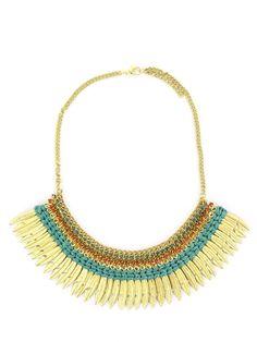 Collier plastron doré et vert à plumes http://www.diwali-paris.com/bijoux/bijoux-collier-dore-metal-ethnique-2206.html