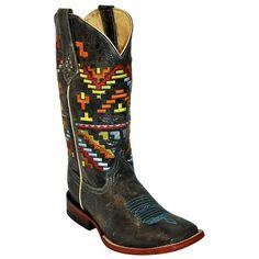 Women's Ferrini Distressed Black Aztec Cowgirl Boots