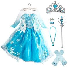 Frozen Elsa Dress Up Costume With Cosplay Accessories Crown Wand & Gloves Elsa Halloween Costume, Frozen Costume, Toddler Elsa Costume, Frozen Cosplay, Disney Princess Dress Up, Princess Dresses For Kids, Princess Dress Patterns, Frozen Elsa Dress, Frozen Birthday Dress