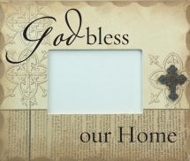 PHOTO FRAME: GOD BLESS OUR HOME.    CLASSIC. STYLISH. INSPIRATIONAL. The perfect way to accent your home & decorate with meaning. Wooden photo frames with easel backs: Frame size: 238mm x 19mm x 200mm Photo Size: 140mm x 89mm.