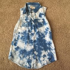 Cute tie dye sleeveless shirt. Size S. Adorable button up sleeveless denim top. Looks great with white shorts or jeans. Tops Tank Tops