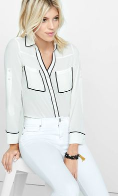 Slim Fit White Contrast Piping Portofino Shirt | Express