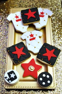 Decorated cookies at a Hollywood baby shower party! See more party planning ideas at CatchMyParty.com!