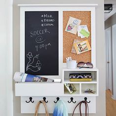 Create a compact drop zone for keys, bags, mail, and other small items. Install a message center with both a chalkboard section for notes and a corkboard for paper reminders. Click the link in profile for project steps! #Lowes #DIY #Mudroom #Chalkboard