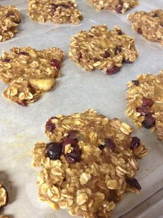 Healthy Breakfast Cookies. 1.5 cups uncooked oatmeal, 2 ripe bananas mashed, 1 cup unsweetened applesauce, 1/3 cup dried cranberries, 1 tsp vanilla extract, 1 tsp cinnamon. Cook 20-30 minutes on 350 degrees.