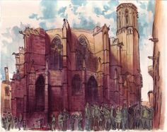 Sagar Fornies - Barcelona Cathedral (Urban Sketchers)