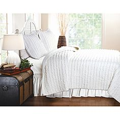 @Overstock.com - Ruffled White 3-piece Quilt Set - Bring a little fresh, clean elegance into your bedroom with this white 100-percent cotton quilt set which is made from rows of soft ruffles. This set is comprised of one quilt and two shams. It is easy to take care of since it is machine washable.   http://www.overstock.com/Bedding-Bath/Ruffled-White-3-piece-Quilt-Set/6397086/product.html?CID=214117 $64.99
