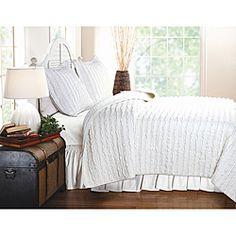 Ruffled White 3-piece Quilt Set