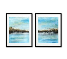 Set of 2 digital prints printable art instant downloadable wall art diptych abstract art digital print painting blue modern artwork decor