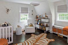 Modern Orange and Brown Giraffe Nursery - love the safari chic accents!