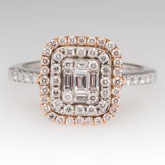 14K White & Rose Gold Low Profile Diamond Halo Ring