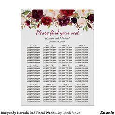 Burgundy Marsala Red Floral Wedding Seating Chart Red Fall Weddings, Simple Weddings, Seating Chart Wedding, Seating Charts, Marsala, Casual Wedding, Rustic Wedding, Summer Wedding, Wedding Posters