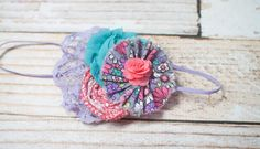 Juniper and Lace - headband in lavender, purple, coral, pink, aqua and grey by SoTweetDesigns