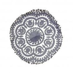 Gaddi Embroidered Cushion White/Grey Round