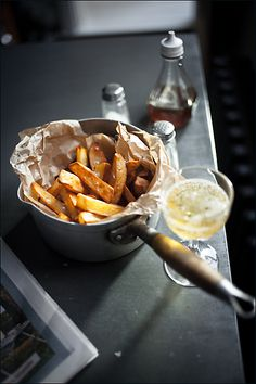 chips, w/ juices from a roast, mayonaise and a glass of champagne or a crisp white wine