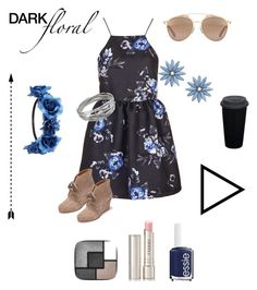 """Dark summer floral"" by dwatters ❤ liked on Polyvore featuring Topshop, Charlotte Russe, Essie, R.J. Graziano, Whistles, Dolce Vita, By Terry, Christian Dior and Yves Saint Laurent"
