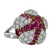 Amazing vintage ring by Cartier, set with diamonds and rubies, circa 1970s.