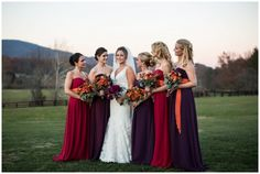 Mismatched Dark Bridesmaid Dresses |rusticweddingchic.com